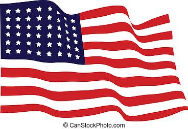 onduler, américain, vecteur, drapeau