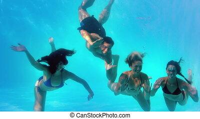 onduler, amis, sous-marin, appareil photo