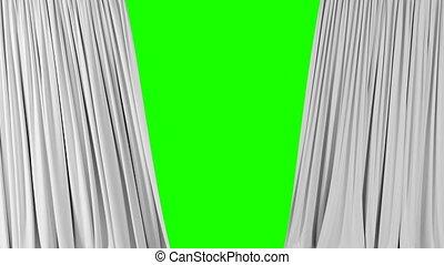 onduler, blanc, screen., beau, alpha, résumé, 3d, révéler, ouverture, tissu, 3840x2160, fermer, fond, hd, vert, soie, matte., 4k, animation, ultra, rideaux