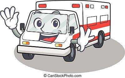 onduler, caractère, amical, conception, ambulance, dessin animé