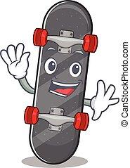 onduler, caractère, skateboard, amical, conception, dessin animé