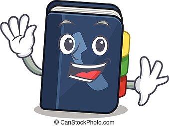 onduler, caractère, téléphone, amical, conception, dessin animé, livre