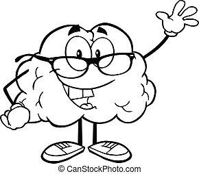 onduler, cerveau, esquissé, salutation