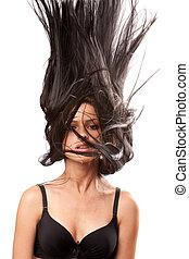 onduler, cheveux, femme, elle