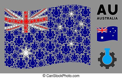 onduler, chimique, icônes, industrie, australie, composition, drapeau