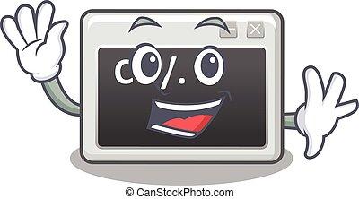 onduler, commande, caractère, fenêtre, amical, conception, dessin animé