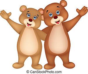 onduler, couple, dessin animé, ours, main
