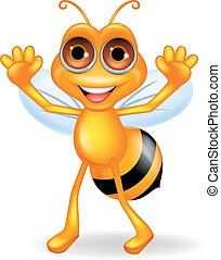 onduler, dessin animé, abeille