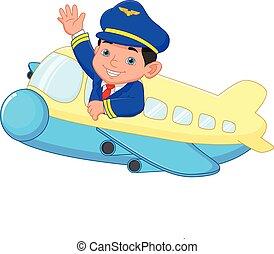onduler, dessin animé, jeune, pilote, avion