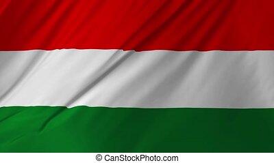 onduler, doucement, 1, drapeau, 2, hongrie, vent