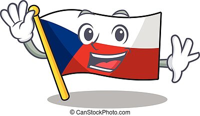 onduler drapeau, czechia, caractère, amical, conception, dessin animé