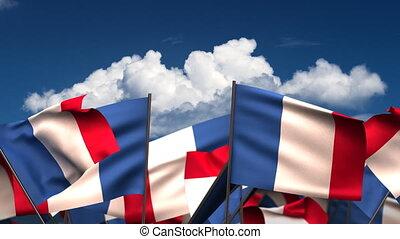 onduler, drapeaux, francais