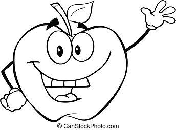 onduler, esquissé, pomme, salutation