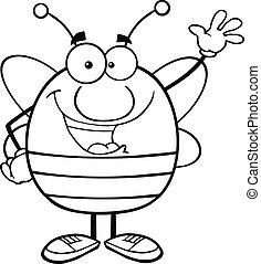 onduler, esquissé, salutation, abeille