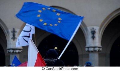 onduler, eu, pologne, drapeaux, gens
