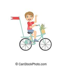 onduler, garçon, équitation bicyclette