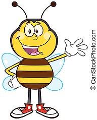 onduler, heureux, caractère, abeille