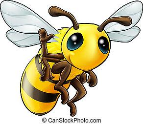 onduler, heureux, dessin animé, abeille