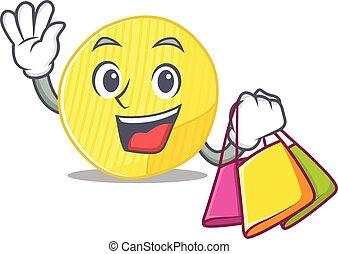 onduler, heureux, pomme terre, tenue, chips, sac, riche, achats