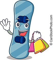 onduler, heureux, tenant sac, riche, snowboard, achats