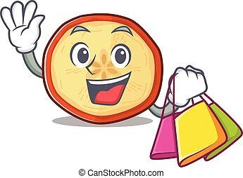 onduler, heureux, tenue, chips, pomme, sac, riche, achats