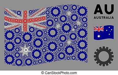 onduler, icônes, australie, engrenage, composition, drapeau