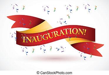 onduler, inauguration, bannière, ruban rouge