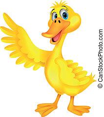 onduler, mignon, dessin animé, canard