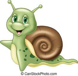 onduler, mignon, dessin animé, escargot