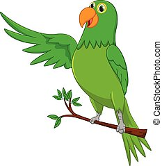 onduler, mignon, dessin animé, perroquet
