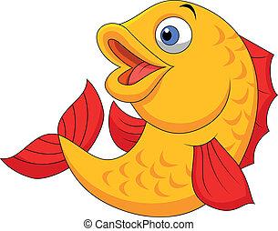 onduler, mignon, fish, dessin animé