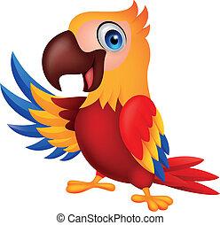 onduler, mignon, macaw, oiseau, dessin animé