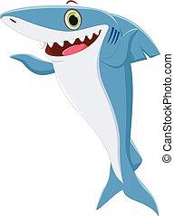 onduler, mignon, requin, dessin animé