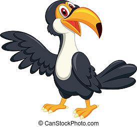 onduler, mignon, toucan, oiseau, dessin animé