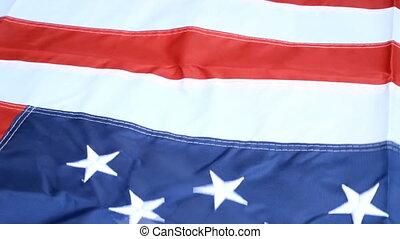 onduler, motion., concept, étoile, blue., raies, democracy., symbole, vent, drapeau, uni, 4ème, etats, arrière-plan., america., lent, liberté, beautifully, blanc, juillet, rouges