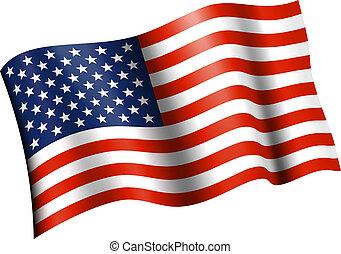 onduler, plat, drapeau américain