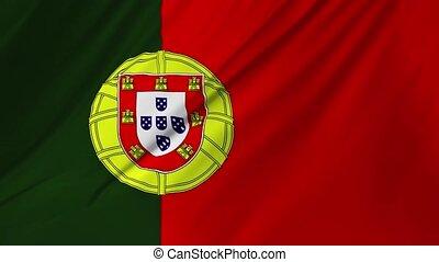 onduler, portugal, 1, réaliste, drapeau, 2, vent