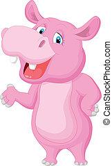 onduler, rigolote, dessin animé, hippopotame