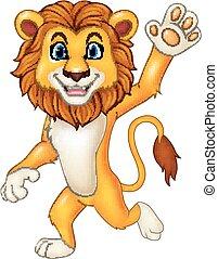 onduler, rigolote, lion, dessin animé