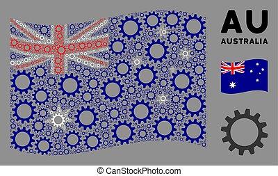 onduler, roue dentée, articles, composition, drapeau australie
