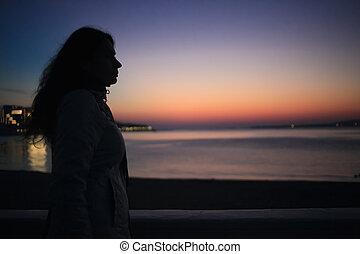 onduler, silhouette, elle, cheveux, girl, sunset.