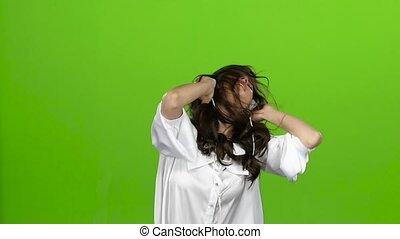 onduler, tête, lent, elle, écouteurs, différent, screen., mouvement, directions, vert, elle, amours, oreilles, girl, music.