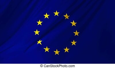 onduler, union, 1, drapeau, 2, vent, européen