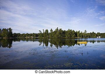 ontario, coup, pays, eau lac, muskoka, calme, petite maison
