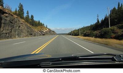 ontario, ensoleillé, highway., conduite