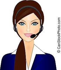 opérateur, sourire, téléphone
