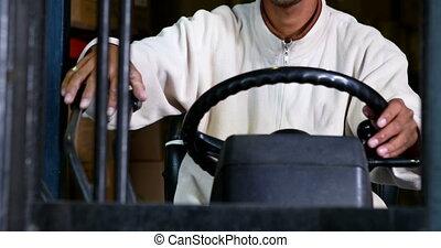 opération, chauffeur, machi, élévateur