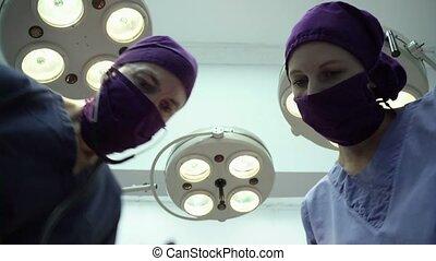 opération, médecins, salle, clinique