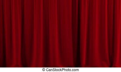 open., rideau, rouges, théâtre