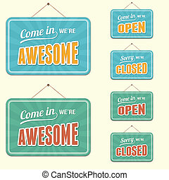 open/closed, signe